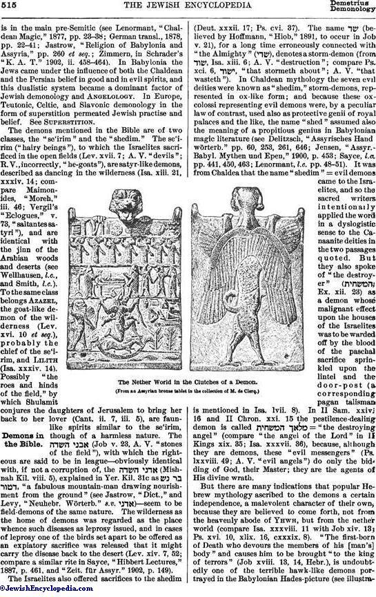 Demonology Jewishencyclopedia