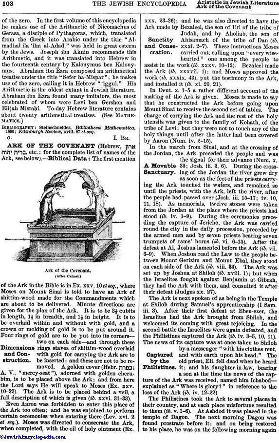 ARK OF THE COVENANT - JewishEncyclopedia com