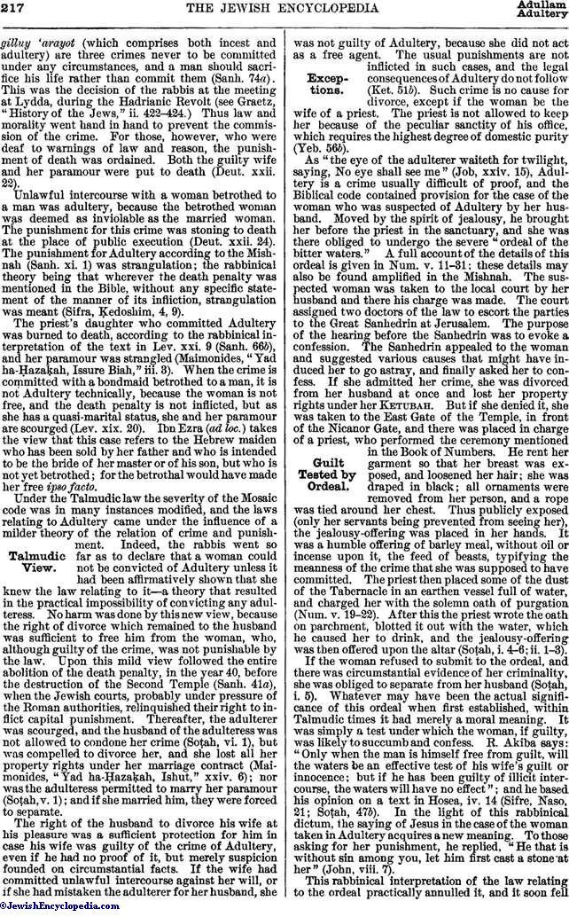 ADULTERY - JewishEncyclopedia com
