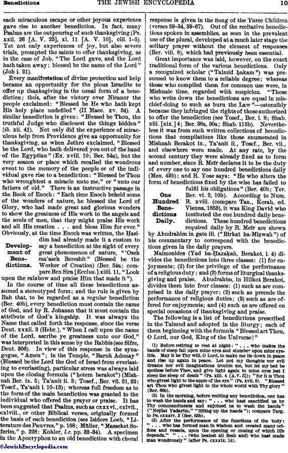 BENEDICTIONS - JewishEncyclopedia com