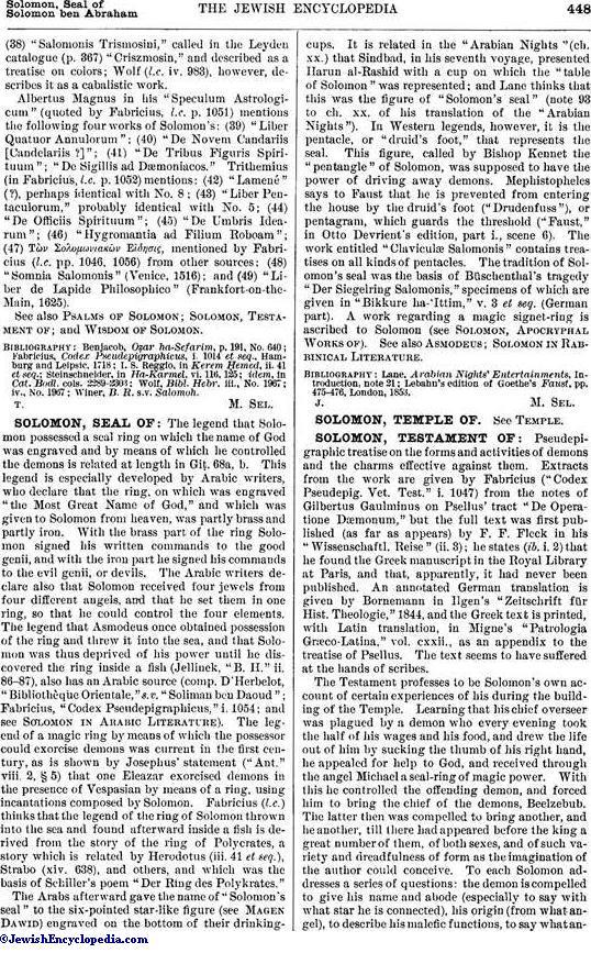 SOLOMON, SEAL OF - JewishEncyclopedia com