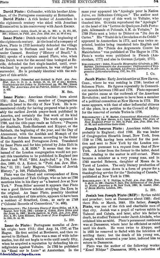 PINTO - JewishEncyclopedia com