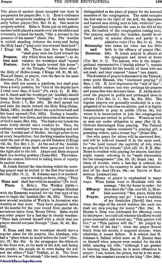 PRAYER - JewishEncyclopedia com