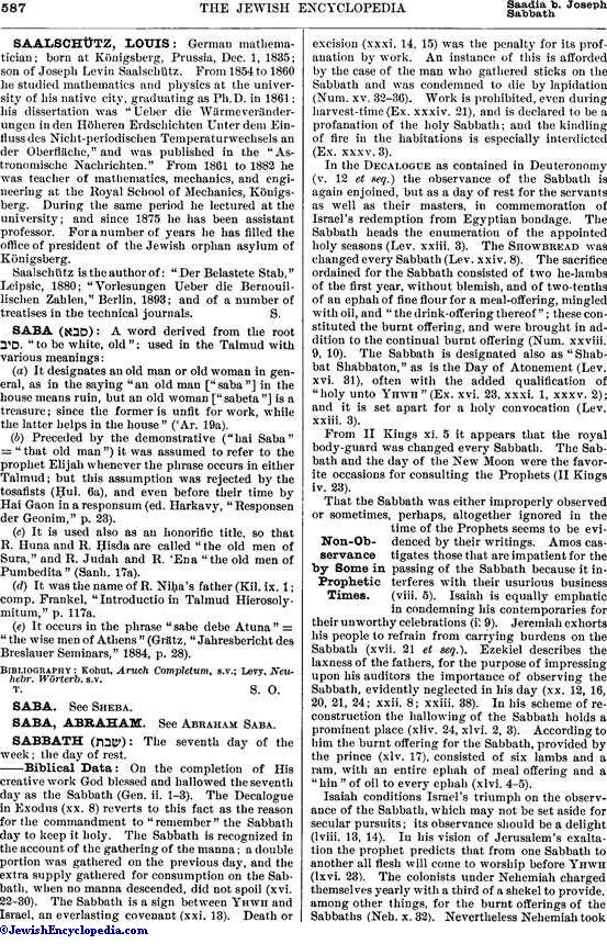 Sabbath Jewishencyclopedia