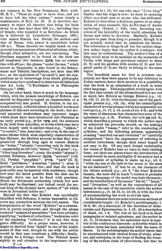 ECCLESIASTES, BOOK OF - JewishEncyclopedia com