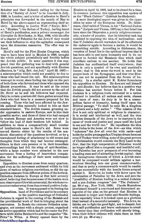 ZIONISM - JewishEncyclopedia com