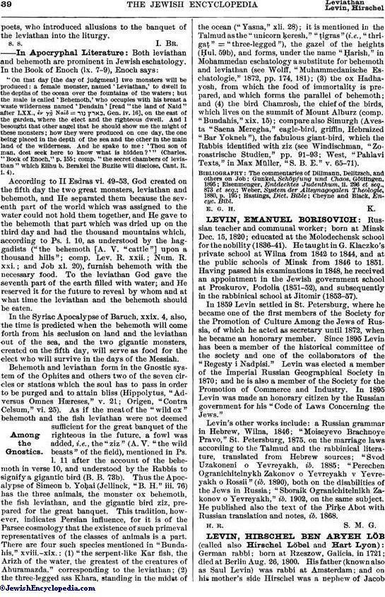 LEVIATHAN AND BEHEMOTH - JewishEncyclopedia com
