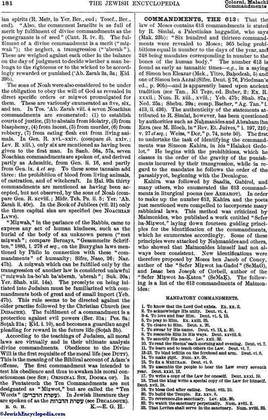 COMMANDMENTS, THE 613 - JewishEncyclopedia com