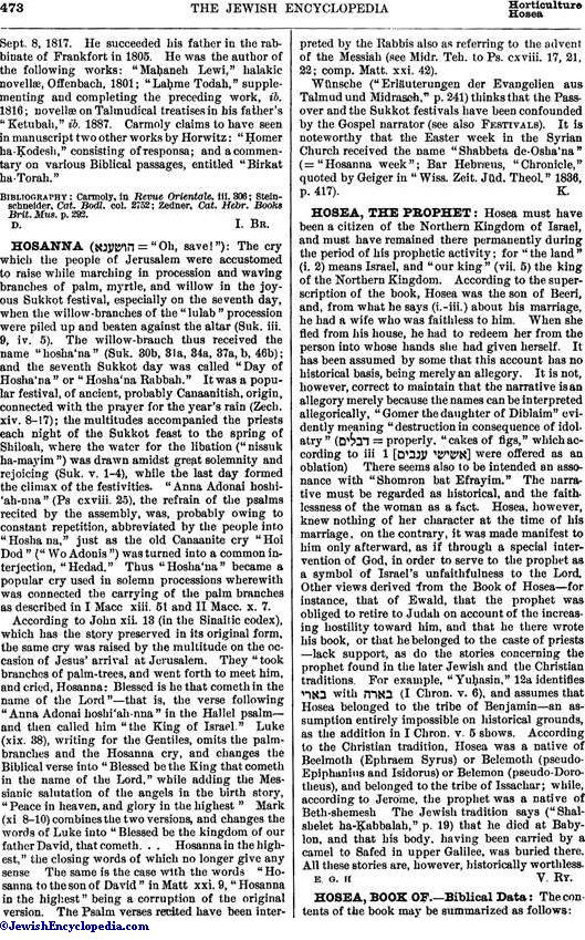 Hosanna Jewishencyclopediacom