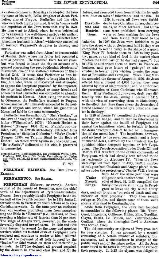 Perpignan Jewishencyclopediacom