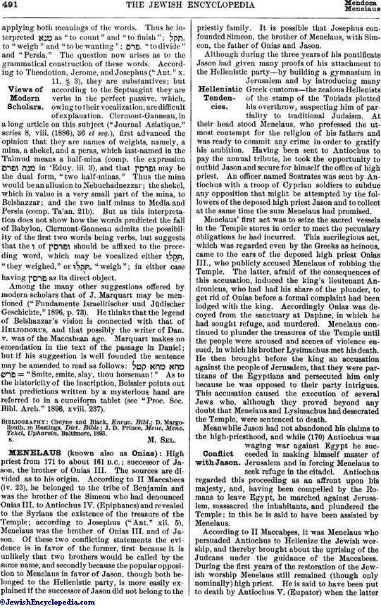 MENE, MENE, TEKEL, UPHARSIN - JewishEncyclopedia com